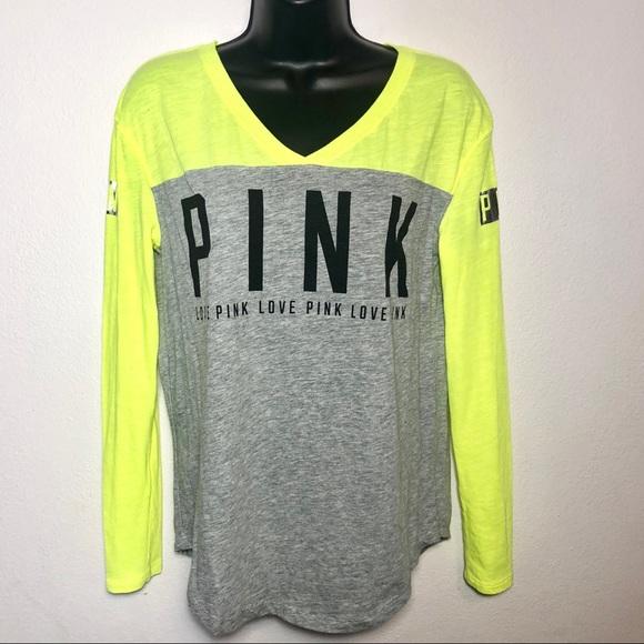 79cdb807e9e3e VS PINK Size XS yellow, gray long sleeved t-shirt